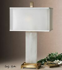 MODERN DESIGNER WHITE ALABASTER BASE TABLE LAMP COFFEE BRONZE METAL ACCENTS