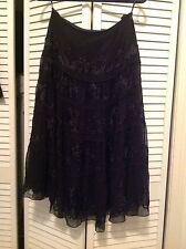 DSTUDIO , black silk , 5 tiered ruffle skirt , soutache floral accents , Size 8