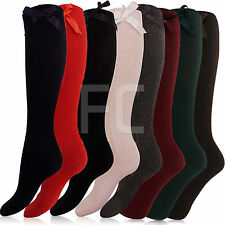 NEW CHILDRENS WOMENS GIRLS QUALITY KNEE HIGH BOW SCHOOL SOCKS FANCY DRESS SIZE