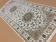"""Persian Oriental Rug Wide Runner Nain Hand Knotted Wool & Silk 4'.1"""" X 9'.1"""""""