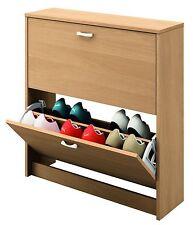Armario mueble zapatero color roble de 2 puertas doble balda de almacenamiento