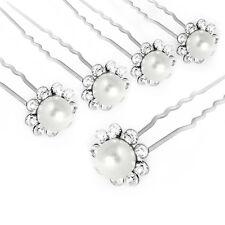 10pcs Crystal Diamond Rhinestone Flower Pearl Hair Pins Slide Clip Bridal Gift