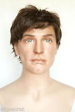 Chestnut Brown Brunette Medium Human Hair  Straight Human Men Men Wig