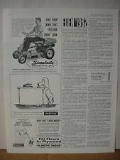 1962 Simplicity Wonder-Boy Ride On Lawn Mower Vintage Print Ad 10013
