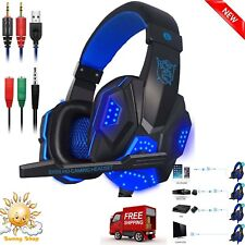 3.5mm Gaming Headset Microphone LED Light for PS4 Laptop Computer Cellphone Blue