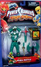 "Power Rangers Ninja Storm 5"" Green Samurai Ninja Battle Ranger New Factory Seal"