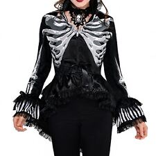 Ladies Steampunk Skeleton Bones Jacket Blazer Pirate Victorian Halloween Black