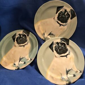 "Set Of 3 Sally Muir Anthropologie Dog-a-Day Stoneware Dessert Plate - Pug, 8.25"""
