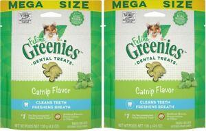 (2) Greenies Feline Crunchy Dental Treats Catnip Flavor Mega Size 4.06 ounces