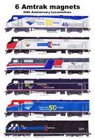 Amtrak 50th Anniversary Heritage Locomotives magnets by Andy Fletcher