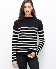 Ann Taylor – Small (4-6) Black Striped Mock Neck Wool/Cashmere Sweater $98.00