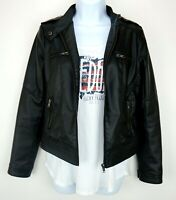 Muscato Women's Size Small Vegan Faux Leather Jacket Black Zip Up
