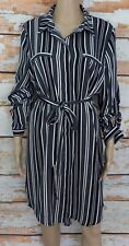 PORTMANS Button Through Midi Shirt Dress Striped Navy & White  Sz 16 (14)  EUC