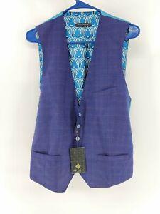 NWT TED BAKER London Debonair Dark Navy Blue Wool Blend Waistcoat Vest Size 40 R