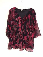 Women's Printed Embellished Polyester Missy Size Tunic Top Blouse S-M-L NWT