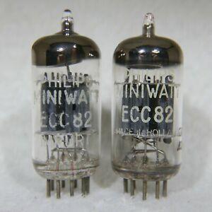 Matched Pair Philips Miniwatt 12AU7/ECC82 Holland O-Getter 1962