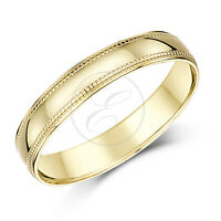 9ct Yellow Gold Ring  Beaded Heavy Weight D Shape Milgrain Solid Wedding Band