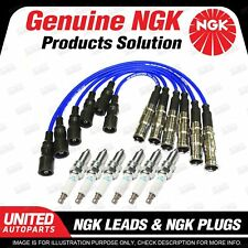6 NGK Spark Plugs Ignition Leads Set for Audi 100 A6 C4 80 Cabriolet B4 A4 B5 A8