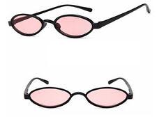 Mohawk Mini Ovalado Retro Acrílico Gafas De Sol Negro con rosa lentes UV400 y189