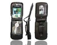 caseroxx Leather-Case with belt clip for Motorola Razr V3 in black made of real