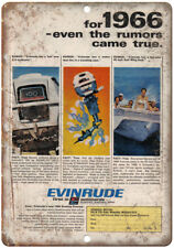 """Evinrude Outboard Motor 1966 Vintage Boating Ad 10"""" x 7"""" Reproduction Metal Sign"""