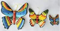 3 x Hand painted Butterfly Portuguese Ceramic Wall Hanging Made in Portugal LOVE