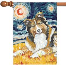 NEW Toland - Van Growl Shetland Sheepdog - Starry Night Puppy Dog House Flag