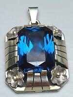 Mondäner 835 Silber Anhänger großer tiefblauer Topas besetzt Art Deco 30er Jahre