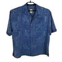 Jamaica Jaxx Hawaiian Shirt Mens Size L Silk Blue Floral Short Sleeve