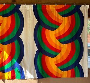 Vintage Finlayson RAINBOW Scandinavian Mod Psychedelic 70s Fabric Curtain Panels