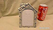"""767D """"Doggie on a Dog House"""" Pewter? 3.5x5 Photo Frame w/Easel & Glass CUTEST !!"""