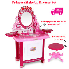 NEW Kid Dressing Table Princess Make Up Pink Light Sound Hair Dryer Jewel Girl