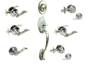 Satin Nickel door knob lever entry privacy passage Locks deadbolt Brushed Nickel
