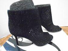 Nine West Glyn Leather Women's 6 1/2 M Black Heels Peep Toe Open Weave Suede