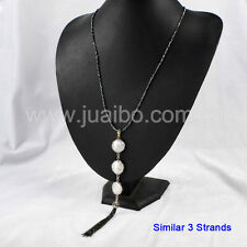 "3Pcs Circle Natural Pearl CZ Paved Tassel Necklace Black Stone Chain 23"" GJA158"
