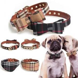 Dog Collar Tartan Plaid Bow Tie Check Adjustable Pet Puppy Cat Scarf Collars UK