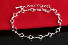925 Sterling Silver Plated Hollow Cut Out Heart Chain Bracelet Ladies Girls Gift