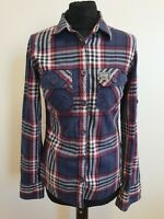EE725 WOMENS SUPERDRY BLUE RED CHECK COTTON ROLL SLEEVE SHIRT UK S 8