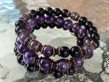 8 mm Black Onyx Amethyst Wrist Mala Beads Healing Bracelet - Set of 3 Bracelets