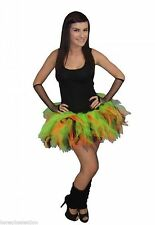 Neon Tutu Orange Black Green Legwarmers Gloves Halloween 80s Fancy Dress Witch