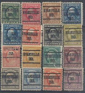 INDIANA PRECANCELS, WASHYINGTON/FRANKLINS, EVANSVILLE, TYPE 219, 16 DIFF.