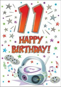 11th Birthday Card BOY or GIRL - 11 Today - Piccadilly Cards - 7 x 5 Inches