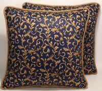 "2 18"" Navy Blue & Tan Mill Creek Scroll Pattern Decorative Throw Pillows & Forms"