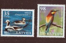 Birds 2 stamps mnh 2013 Latvia #833-4 Long-tailed Duck, European Bee-eater