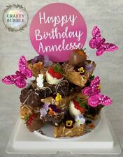 ROUND WOODEN PERSONALISED Birthday CIRCLE Cake topper HAND MADE any colour/s