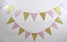 baby pink & gold glitter flag bunting party shower wedding decoration