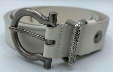 $440 Salvatore Ferragamo Men's White Leather Belt Size US 46 Made in Italy