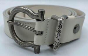 $440 Salvatore Ferragamo Men's White Leather Belt Size US 42 Made in Italy