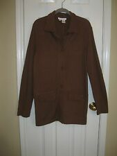 REAL CLOTHES Saks Fifth Avenue Brown Knit Blouse Jacket ~ SZ M - Cute!
