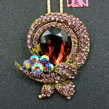 Betsey Johnson Bling Crystal Rhinestone Charm Flower Pendant Chain Necklace